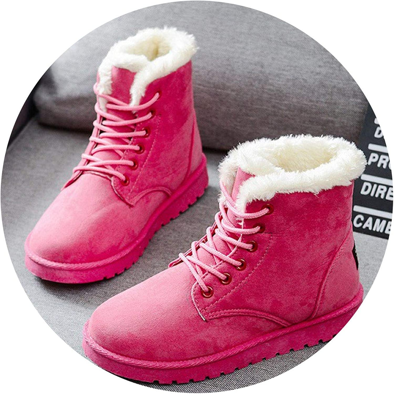 SmarketL Boots Warm Winter Boots shoes Suede Ankle Boots for Plush ole Snow Boots