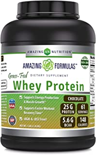 Amazing Formulas Grass FED Whey Protein 5 Lbs (Non-GMO, Gluten Free) -Made with Natural Sweetener and Flavor - rBGH & RBST...