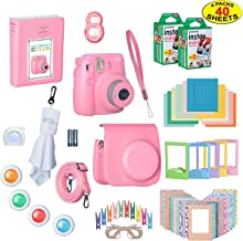 Fujifilm Instax Mini 9 Instant Film Camera Bundle with Over 15 Accessories | 40 Sheets of Instant Film + Mini Nine Leather Case + Photo Album + Lens Filters + Mini Frames + More