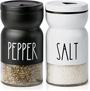 Farmhouse Salt and Pepper Shakers Set with Adjustable Lids, Modern Home Country Kitchen Decor, Cute Shaker Set, White Black Stainless Steel Lids by Talison Home