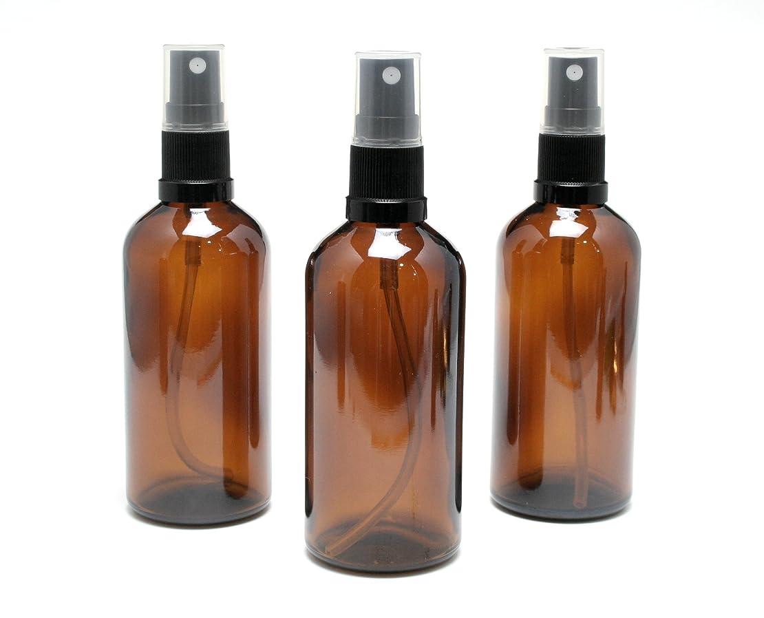 モッキンバード速い動かない遮光瓶 スプレーボトル 100ml アンバー/ブラックヘッド(グラス/アトマイザー) 【新品アウトレット商品 】 (1) 3本セット)