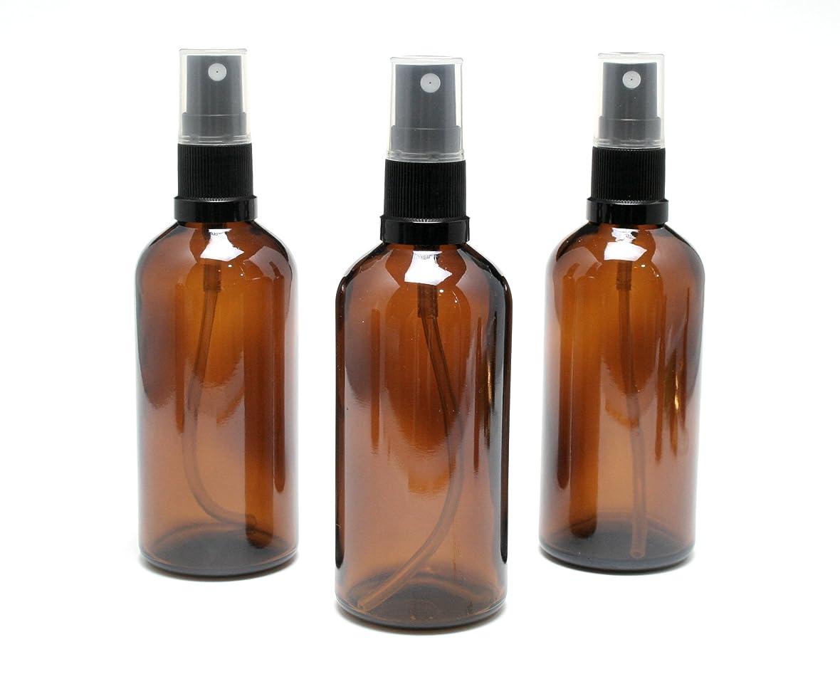 洞窟集まる栄養遮光瓶 スプレーボトル 100ml アンバー/ブラックヘッド(グラス/アトマイザー) 【新品アウトレット商品 】 (1) 3本セット)