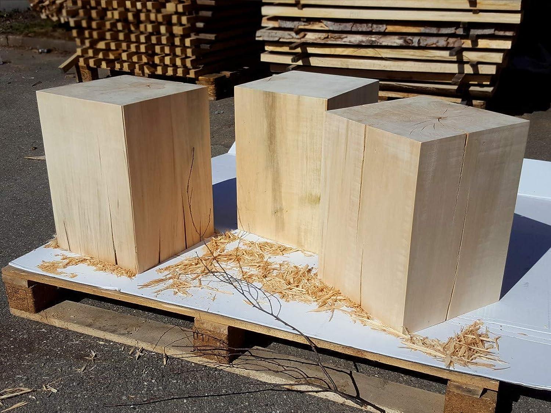 LifeStyle4All Holzklotz Linde Massiv 30x30x42 Vollholz Hocker Dekosule Holzblock Holzsule Beistelltisch (ungelt)