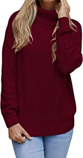Women's 100% Cotton Turtleneck Ribbed Cable Knit Pullover Sweater