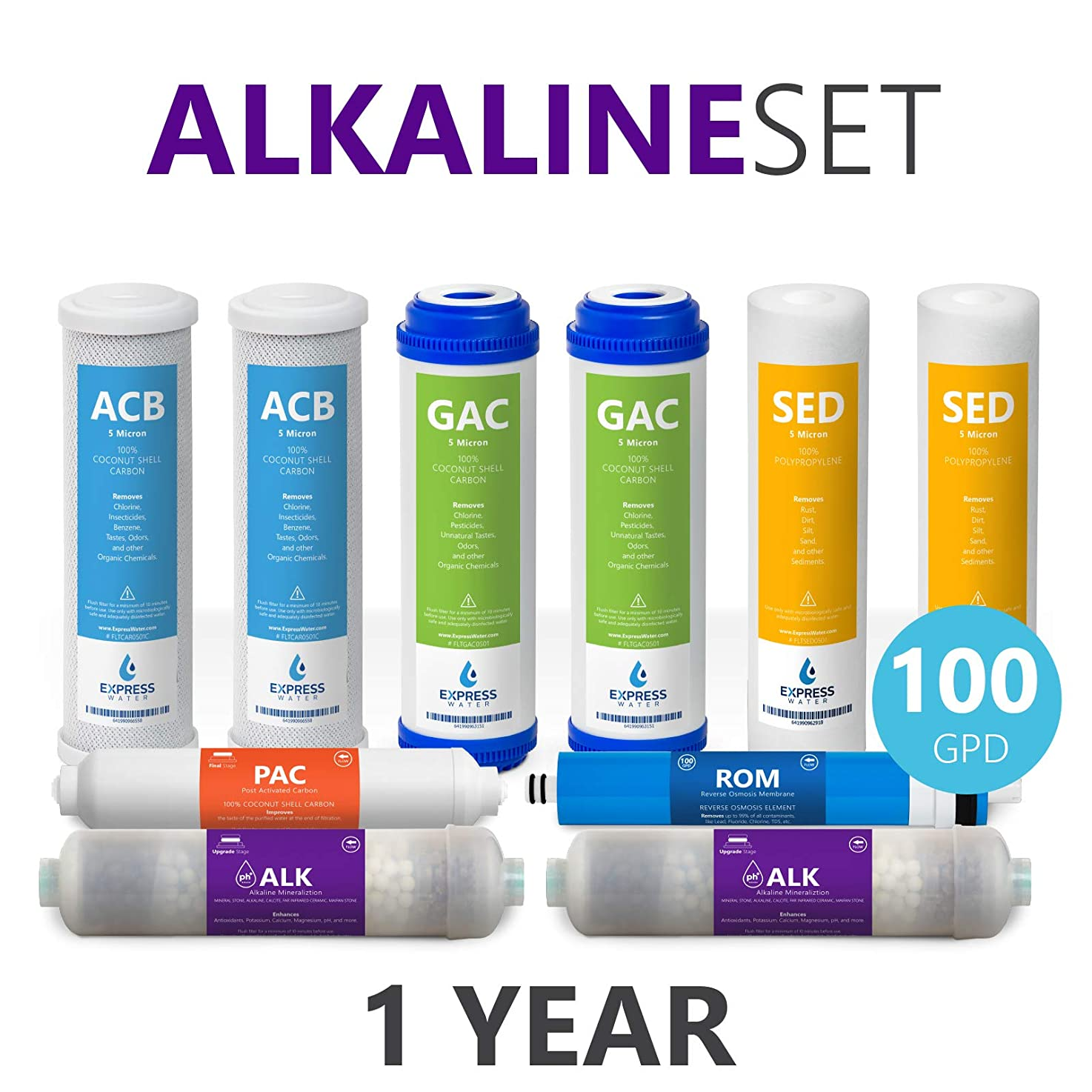 Express Water – 1 Year Alkaline Reverse Osmosis System Replacement Filter Set – 10 Filters with 100 GPD RO Membrane – 10 inch Size Water Filters
