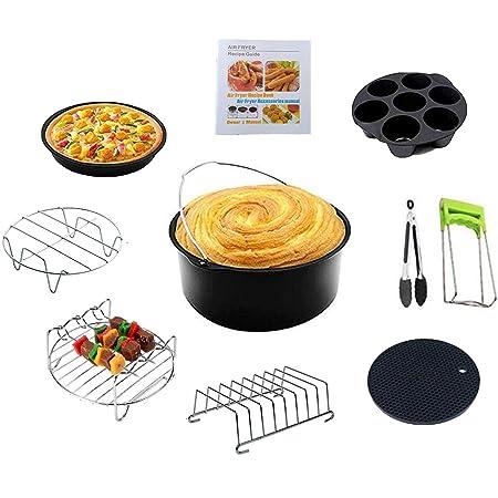Accessoires pour friteuses à Air Ensemble de 10 Pièces de 8 Pouces Avec Revêtement Antiadhésif, Adapté aux Accessoires de Friteuse à Air de 5.2-5.8QT. (noir, 8in)