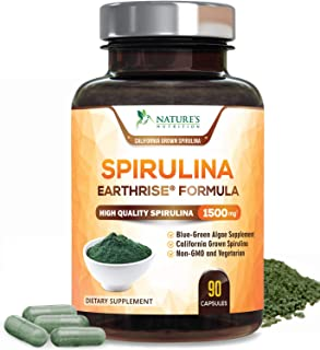 Spirulina Capsules Natural Blue Green Algae Pills 1500mg - High Quality Non-GMO California Blue Spirulina Powder Supplement, Superfood Rich in Minerals & Vitamins, Non-Irradiated - 90 Capsules