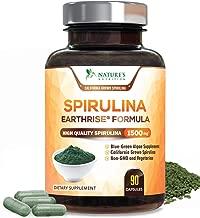 Spirulina Capsules Natural Blue Green Algae Pills 1500mg - High Quality Non-GMO California Blue Spirulina Powder Supplement, Superfood Rich in Minerals & Vitamins, Non-Irradiated - 90 Capsules