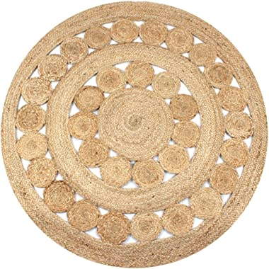 vidaXL Area Rug Strong Resilient Durable Appealing Texture Living Room Home Floor Carpet Mat Sheet Braided Design Jute 120cm