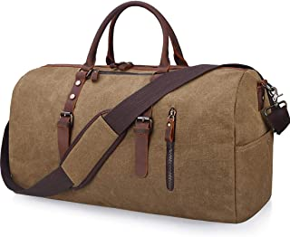 Travel Duffel Bag Large Canvas Duffle Bag for Men Women Leather Weekender Overnight Bag Carryon Weekend Bag Brown