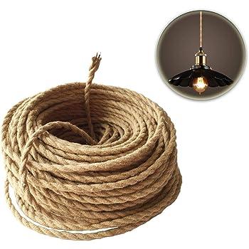 Rtengtunn 5M 2 Cable 0.75cm Colorido Vintage Retro Torsi/ón Trenzado Cable de luz Cable el/éctrico Beige