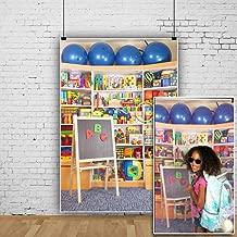 OFILA Kids Toys Store Backdrop 3x5ft Back to School Photos Blackboard Playground Children Birthday Party Decoration School Pupils Wallpaper Boys Girls Photos Digital Video Studio Props