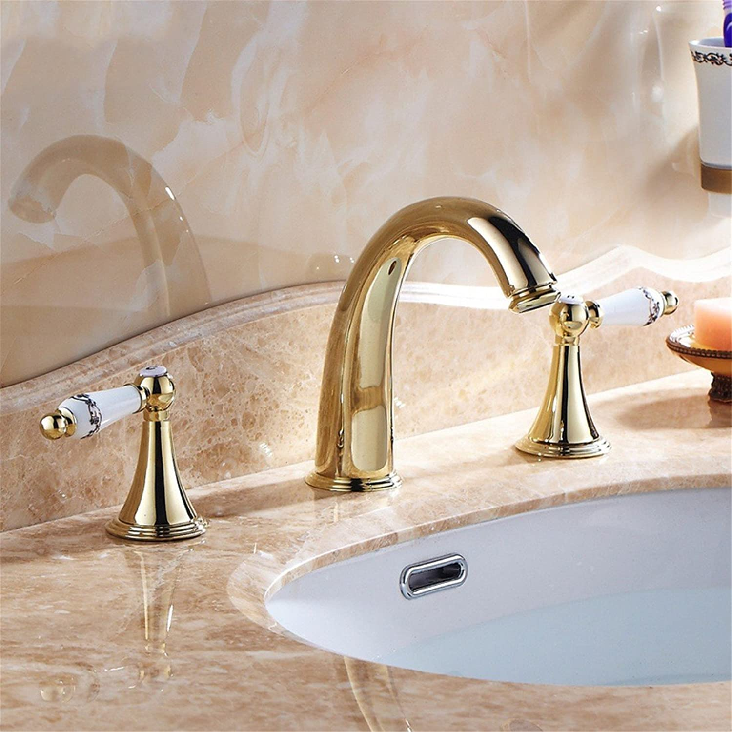 LHbox Basin Mixer Tap Bathroom Sink Faucet Antique continental three hole split cold and hot surface basin pink gold copper gold bathroom faucet Kit, gold