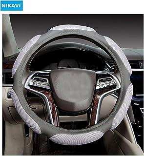 Nikavi Steering Wheel Cover - Odorless, Warmer Hands In Winter, Cooler Hands In Summer (Grey)