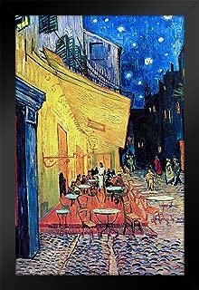 Vincent Van Gogh Cafe Terrace at Night Art Print Black Wood Framed Poster 14x20