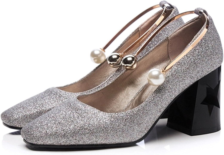 Gome-z Women Pumps Pearl Metal Decoration High Heels Office Lady Woman shoes Bling Glitter Women Wedding shoes Black SilverI89
