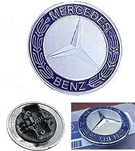 HNLJP Flat Hood Emblem for Mercedes Benz C E SL Class Ornament Logo Blue 57MM