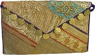 Indian Ethnic Handmade Zari Gold Embroidered Patchwork Clutch Crossbody Handbag