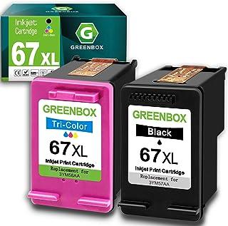 GREENBOX Remanufactured Ink Cartridge Replacement for HP 67 67XL for DeskJet 2732 2755 Envy 6052 6058 6075 DeskJet Plus 41...