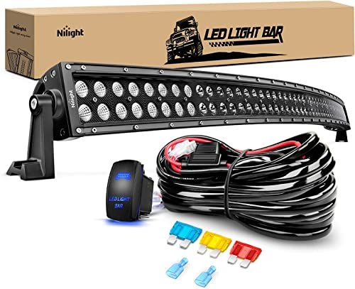 new arrival Nilight ZH120 50Inch 2021 50 Inch 288W Curved outlet sale Spot Flood Combo Bar LED Off Road Driving Light and 1PC 14AWG 12V 5Pin Rocker Switch Wiring Harness Kit-1 Lead, 2 Years Warranty online