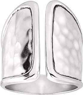 Divide' Split-Top Ring in Hammered Sterling Silver