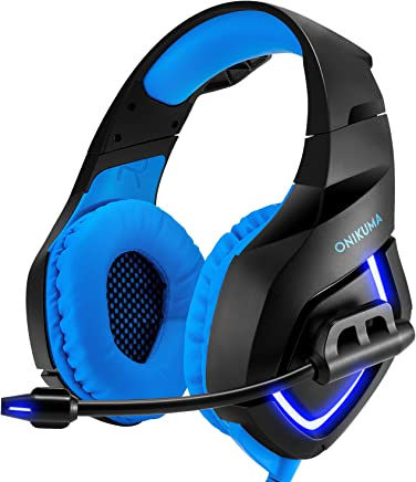 Auriculares estéreo para juegos para PS4, PC, Xbox One Controller, cancelación de ruido sobre auriculares con micrófono, luz LED, bajo redondo, suave memoria para portátil, Mac, Nintendo Switch Games