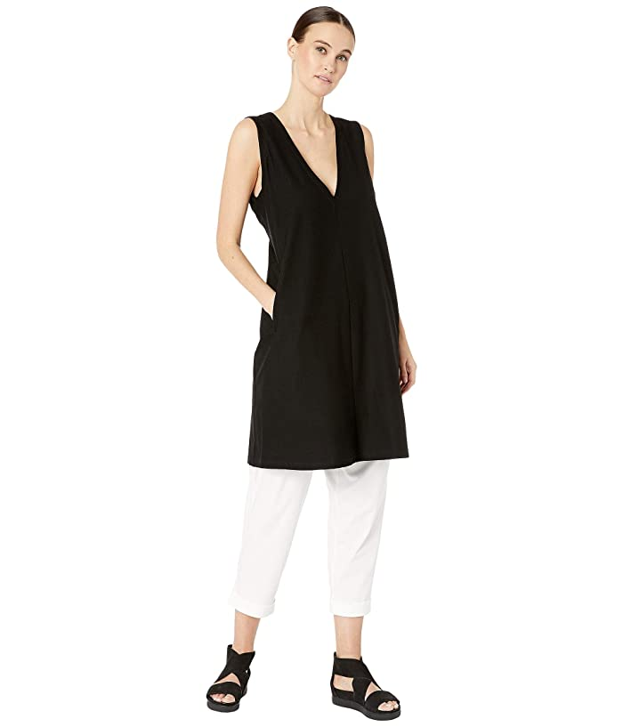 Eileen Fisher  Lightweight Washable Stretch Crepe Deep V-Neck Layering Dress (Black) Womens Clothing