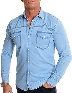 Men's Light Blue Denim Jean Shirt Regular Collar Pearl Studs Front Pockets Slim