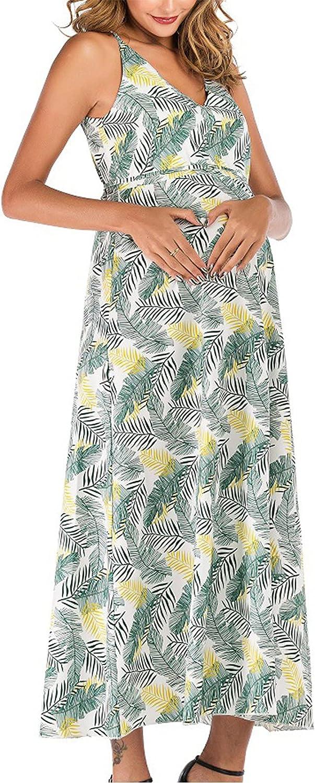 GOODTRADE8 Maternity Clothes Summer Round Short Sleeve Flower Print Maternity V-Neck Dress Fashion Skirt