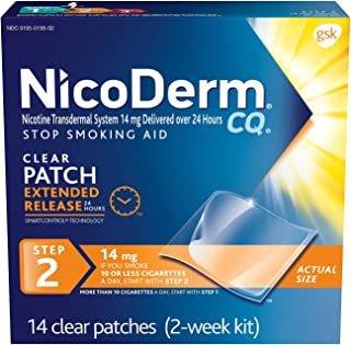 NicoDerm CQ Nicotine Patch, Clear, Step 2 to Quit Smoking, 14mg, 14 Count