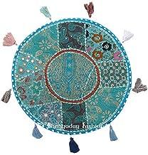 Round Floor Pillow Floor Cushion Bohemian Patchwork Floor Cushion Pouf Ottoman Vintage Indian Foot Stool Bean Bag Floor Pillow Pouf, Home Decor, Living Room Ottoman, Bohemain Pillows, Gypsy Pouf, 32 Inch. By Bhagyoday