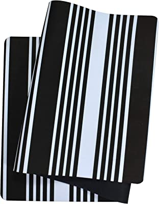 "ABREEZE Laundry Room Rug Farmhouse Rug Waterproof Laundry Runners Laundry Rug Nonslip Rubber Floor Mats for Washhouse Mudroom Kitchen 20""x48""(Black Striped)"