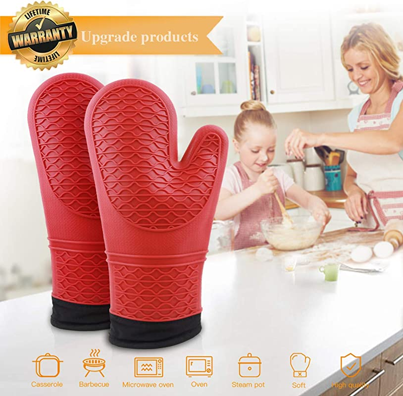 Oven Mitts Extra Long Professional Silicone Oven Mitts 1 Pair With Non Slip Textured Grip Oven Mitts Heat Resistant 400 Degrees With Cotton Lining For Barbecue Cooking Baking