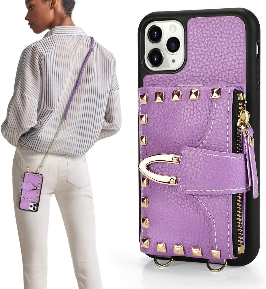 iPhone 11 Pro Max Wallet Case, ZVE iPhone 11 Pro Max Rivet Case with Card Holder Slot Crossbody Case Purse Wrist Strap Protective Case Cover for Apple iPhone 11 Pro Max - Light Purple