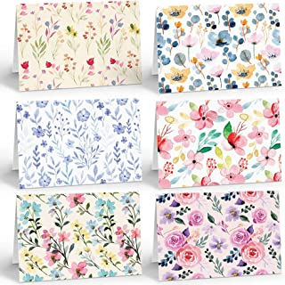 Sponsored Ad – 30 Pack Eco Friendly Blank Floral Notelets - Multipack of Pastel Floral Blank Note Cards and Envelopes Box ...