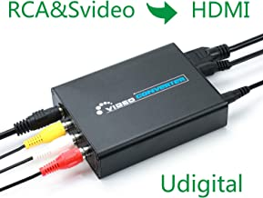 RCA Svideo to HDMI Converter,Udigital 3RCA AV CVBS Composite SVideo RL Audio to HDMI Converter Adapter Upscaler Support 720P/1080P N64 Sega Genesis