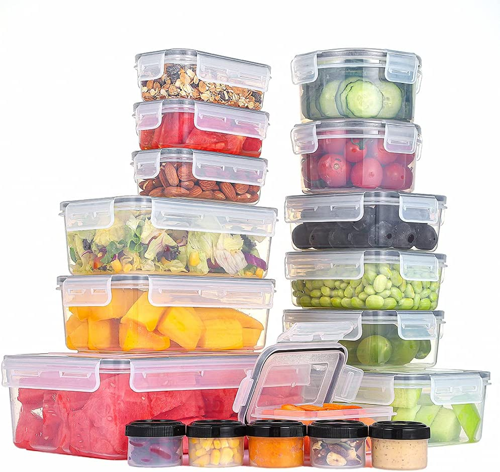 36 PCS Plastic Food Storage Containers with Lids, 1.4 Oz - 84.5 Oz, 100% BPA Free, with Exhaust Vents, Food Grade Materials, Dishwasher, Microwave and Freezer Friendly