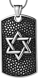 Hipunk Dog tag Necklace Mens David Star Pendant 316L Stainless Steel Black Gun/18K Gold Plated Protection Amulet Gift Birt...