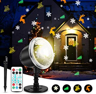 Christmas Projector Lights, KINGWILL Indoor Outdoor Holiday Lights with Remote Control 4Pcs Pattern Light Bead for Xmas Home Party Garden Landscape Wall Decorations