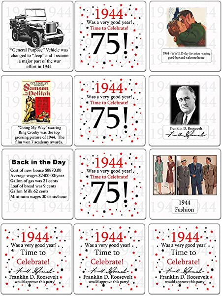 1944 75th Birthday Coaster 12 Ct By Partypro