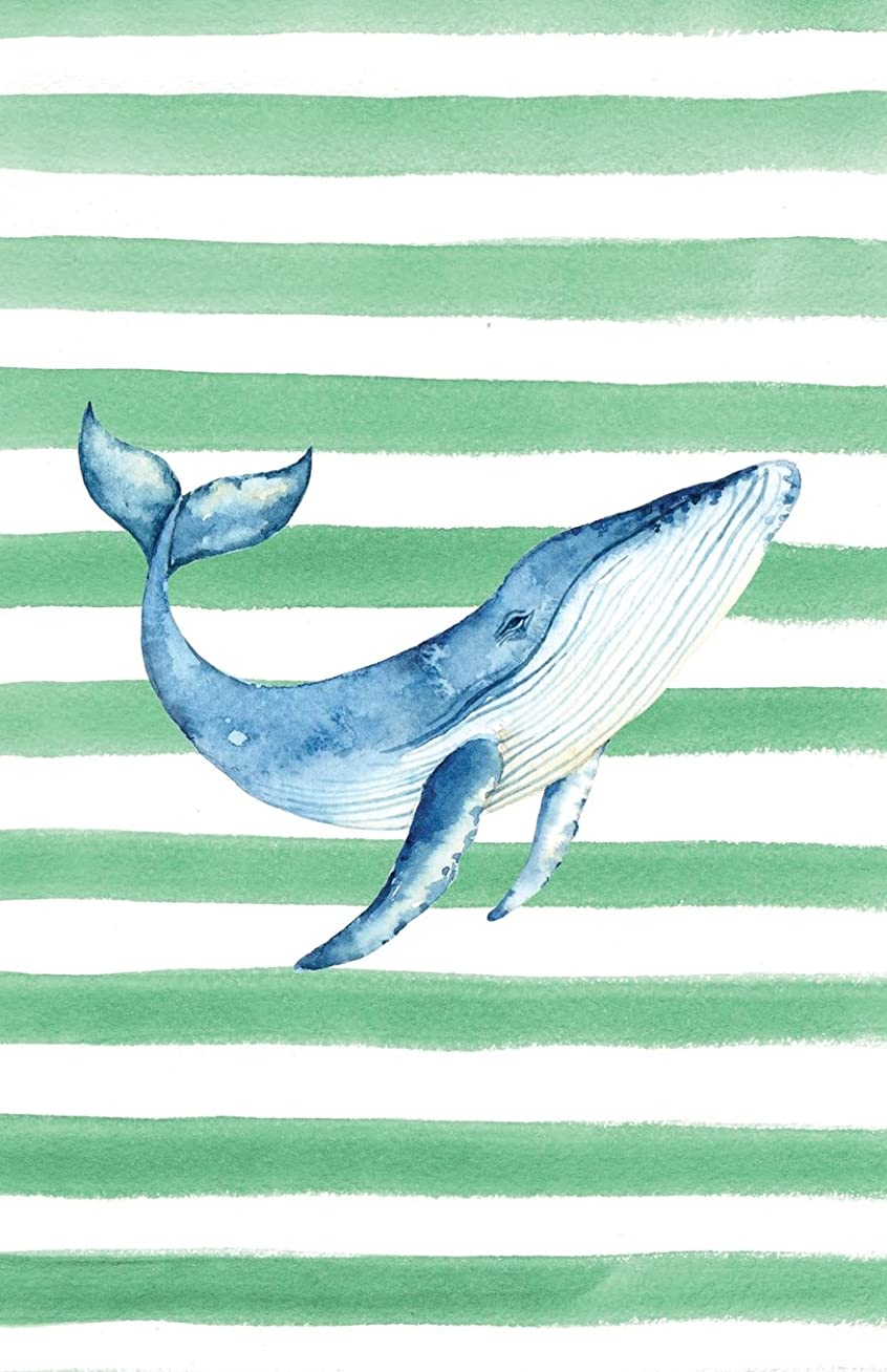 設置ねじれナサニエル区Blue Whale Watercolor Stripe Journal, Graph Paper: Blank Quad Grid Notebook with Graph Paper (Coastal Beaches & Oceans Series)