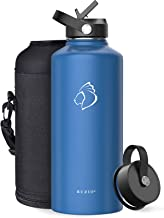 BUZIO Insulated Water Bottle with Straw Lid and Flex Cap,40oz, 64oz, 87oz Modern Double Vacuum Stainless Steel Water Flas...