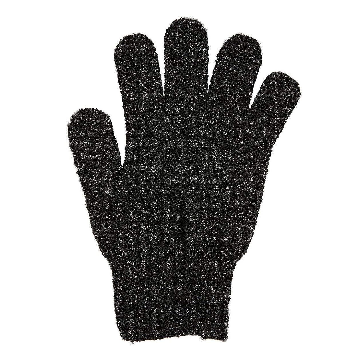リッチマニュアル破壊する角質除去手袋フルボディスクラブデッドセルソフトスキン血液循環シャワーバススパ剥離アクセサリー - ブラック