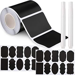 120 Pieces Reusable Chalkboard Stickers Waterproof Blackboard Labels and 20 Pieces Large Chalkboard Labels with 2 Pieces E...