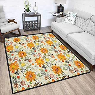 Romantic Super Soft Area Rug,Cheerful Spring Nature Inspired Lovely Doodle Composition with Floral Elements Chic Geometric Design Multicolor 67