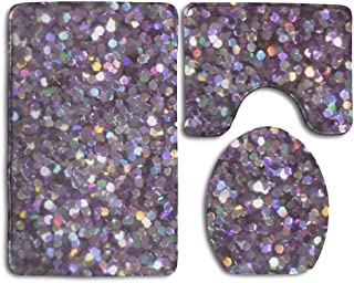 Doppyee Glitter Sparkles Shimmer Flannel Bathroom Bath Mat 3 Piece/Set Pedestal Style Rug,Non Slip Shower Mat And Toilet Cover
