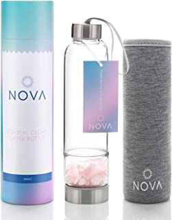 Crystal Elixir Infused Gem Water Bottle – Shatter-Resistant – Wellness Glass and Stainless Steel Includes Protective Sleeve and Removable Crystal – 15 oz (Rose Quartz)