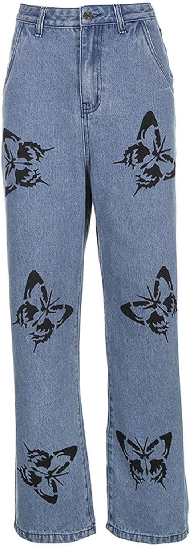 Women's High Waist Baggy Jeans Butterfly Relaxed Fit Straight Wide Leg Trousers Y2k Casual Boyfriend Denim Pants