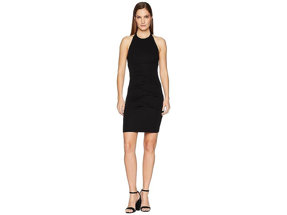 Nicole Miller Halter Tidal Pleat Dress (Black) Women