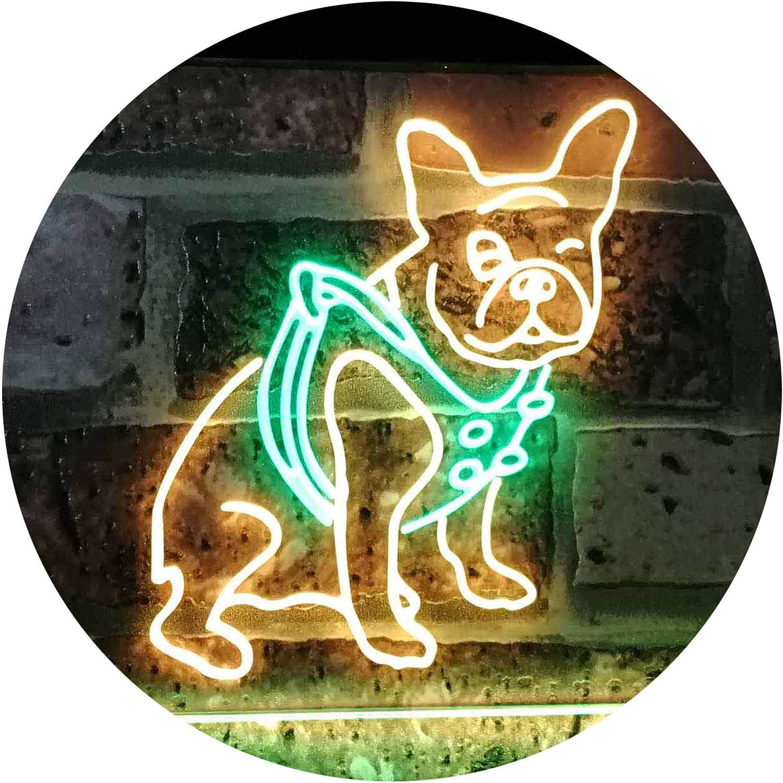 ADVPRO French Bulldog Dog House Dual Farbe LED Barlicht Neonlicht Lichtwerbung Neon Sign Grün & Gelb 16  x 12  st6s43-j2126-gy